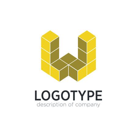 Letter W cube figure logo icon design template elements