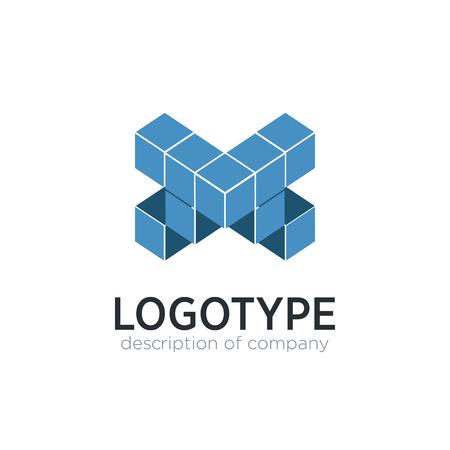 Letter X cube figure logo icon design template elements