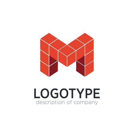 Letter M cube figure logo icon design template elements Illustration