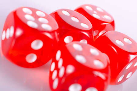 Red dice isolated on white background Stock Photo - 16062932
