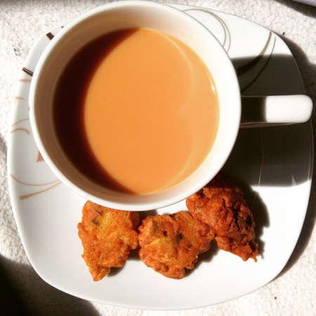 pakistani food: Chai and Pakora Stock Photo