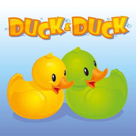 ducky: Yellow and green ducks on a background of blue water Illustration