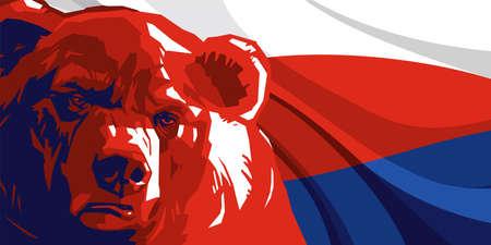 oso enojado contra el telón de fondo de la bandera rusa Ilustración de vector