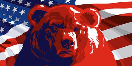 Ours en colère sur le fond du drapeau américain