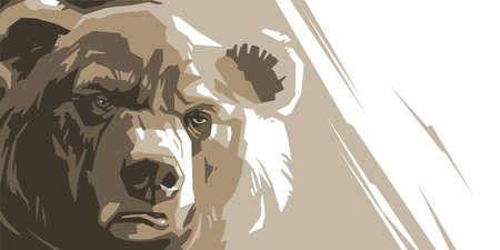 ours en colère sur un fond blanc abstrait