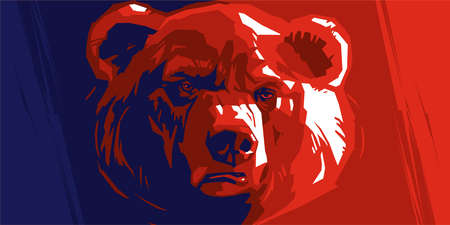 angry bear: Angry bear on a red and blue background