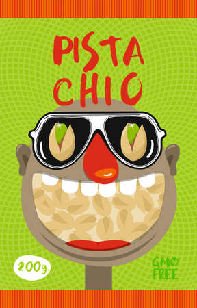 Business concept. A packing pattern for pistachios. Ilustrace
