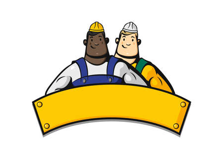 Emblem with construction workers on a white background