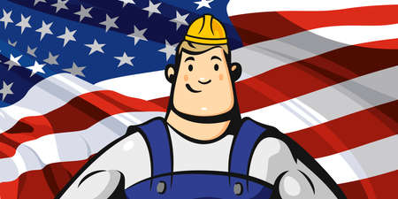 Builder on the background of the American flag