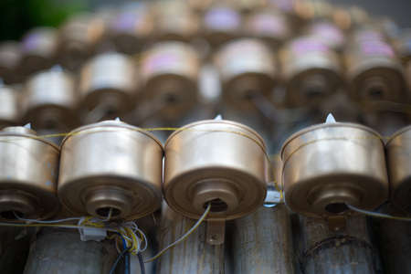malay village: Silver Tea Lamp at a Malay Village Wooden House Stock Photo