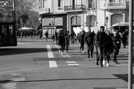 BARCELONA,SPAIN - February 26,2017: Shot of Plaça de Catalunya street  in Barcelona, Spain. This image may contain noise ,blurry clouds due to long exposure, soft focus and poor lighting. 新聞圖片