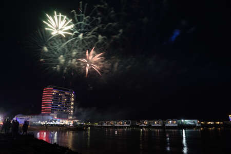 PORT DICKSON, MALAYSIA - 1 January 2018: Fireworks display during New Year celebration in Lexis Hibiscus. Lexis Hibiscus have Guinness World Records for most swimming pools & most over water villas.