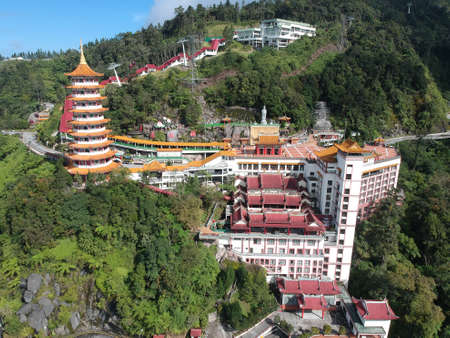 Genting Highlands, Malaysia - 1 February 2018: Aerial view of Chin Swee Caves Temple.
