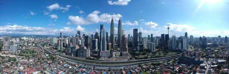 Kuala Lumpur, Malaysia - 4 February 2018: Beautiful and dramatic aerial view of Kuala Lumpur City.