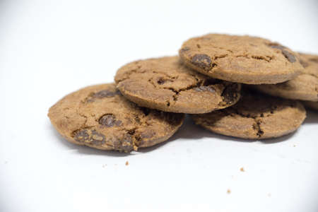 Chocolate cookies on a white background