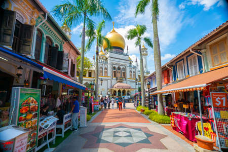 Singapore - February, 2020: Street view of preserved historical Masjid Sultan mosque located in Kampong Glam in Singapore.