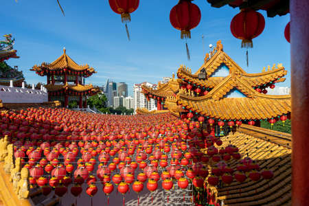 The beautiful decoration of Red Lantern during Chinese New Year at the temple. The image contains certain grain or noise and soft focus.