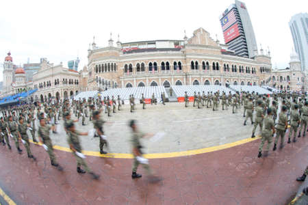 Kuala Lumpur, Malaysia – 26 August 2017: The Participants perform during a full dress rehearsal in downtown Kuala Lumpur for Malaysia's Independence Day celebrations this upcoming 31 August. Editöryel