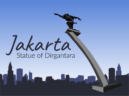 Jakarta Pancoran Statue in blue