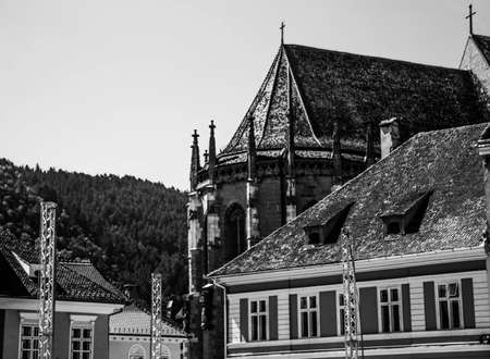 The Black Church in Brasov, Romania 스톡 콘텐츠