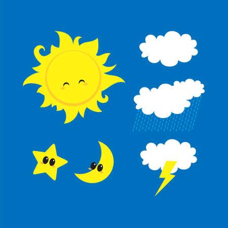 weather characters cartoon: sun, star, moon, thunder, rain, cloud