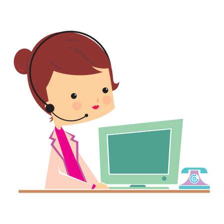 front desk officer female, vector design, fully editable