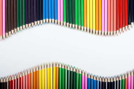 coloured pencil: Colored Pencils Wave! Stock Photo