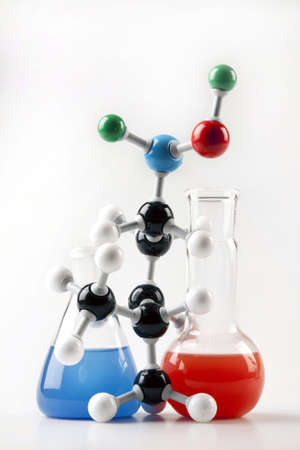 chemic: 2 Flasks and Mocelular Structure Stock Photo