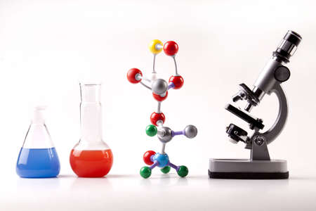 Microscope, Flaska and Molecular Structure photo