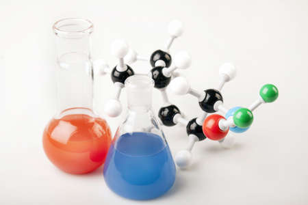 high scale magnification: Vials and Molecular Chain