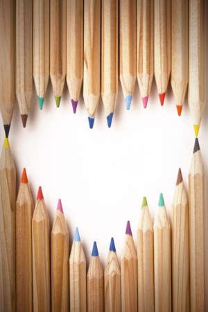 ceruzák: Colored Pencils Heart Shape Stock fotó