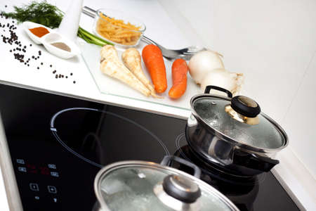 cooker: Raw Food and Cooking! Stock Photo