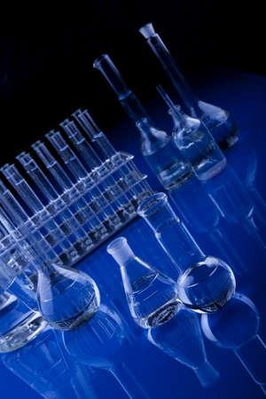 Blue Glassware in Labolatory photo