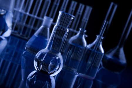 chemic: Dark Labolatory cristalleria in Blue Archivio Fotografico