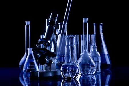 presentational: Dark Science Glassware Stock Photo