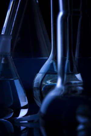 presentational: Labolatory Dark Glassware Closeup