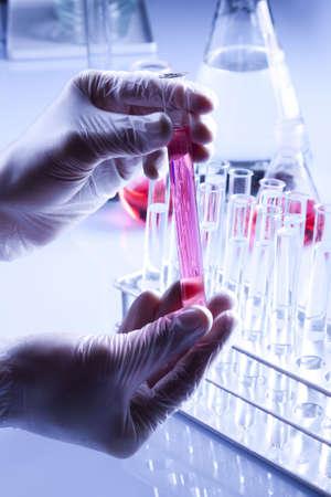 bioteknik: Labolatory Experiments, Flasks, Vials and Hands Stockfoto