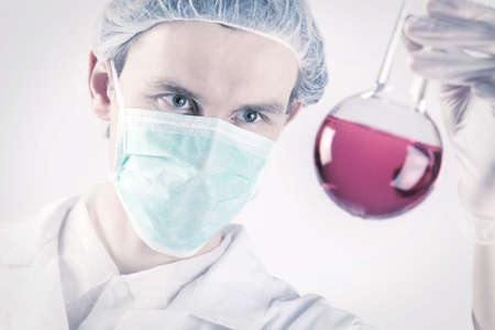 Scientist Holding Flask Stock Photo - 6188159