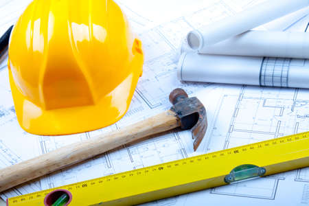 Construction plans and tools Stock Photo - 6303377