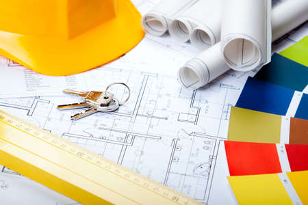 engineering plans: Construction Projects Stock Photo