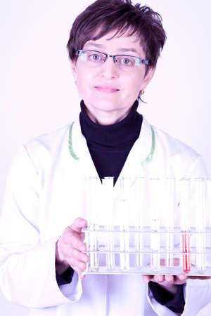 Sceintist holding test tubes Stock Photo - 6536099