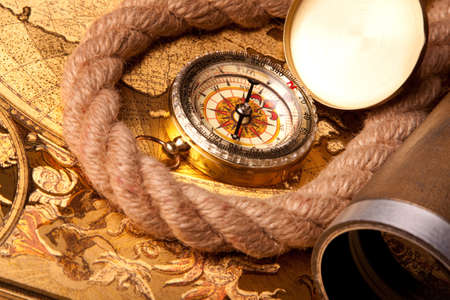 old map, compass and navigation equipment Stock Photo - 7122271