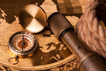 longitude: old map, compass and navigation equipment