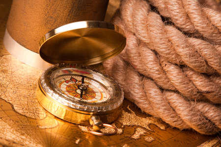 old map, compass and navigation equipment Stock Photo - 7122272