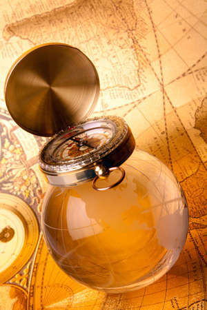 old map, compass and navigation equipment photo
