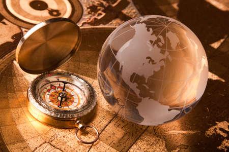 latitude: Treasure map and compass Stock Photo