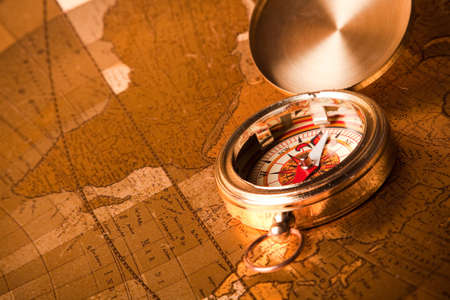 Treasure map and compass photo