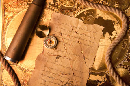 old tools: Treasure map and compass Stock Photo