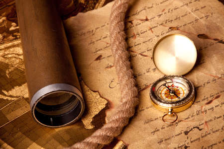 longitude: Treasure map and compass Stock Photo