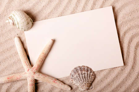 beach mat: Treasures from sands Stock Photo